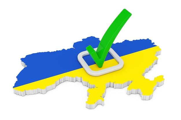 Abstimmung im ukraine-konzept. abstimmung grünes häkchen-symbol über form der ukraine-karte mit flagge auf weißem hintergrund. 3d-rendering