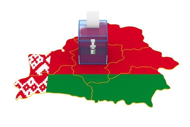 Abstimmung in weißrussland auf weißem hintergrund. isolierte 3d-illustration