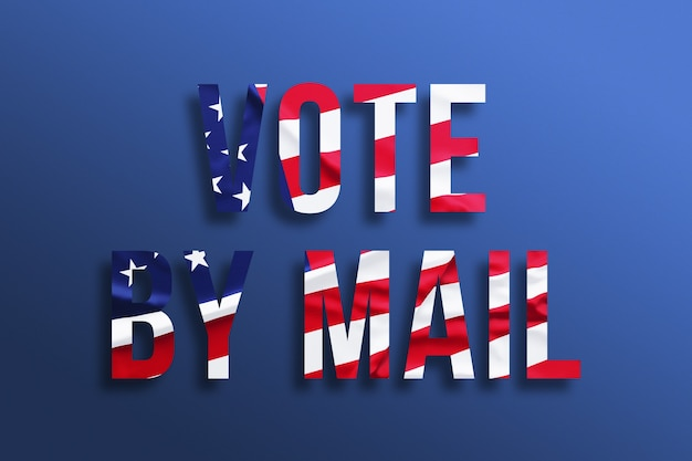 Abstimmung per mail. text mit amerikanischer flagge auf blauem hintergrund