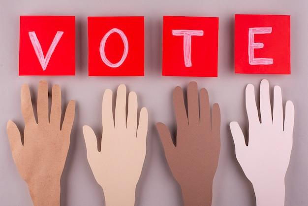 Abstimmungsanordnung im papierstil von oben