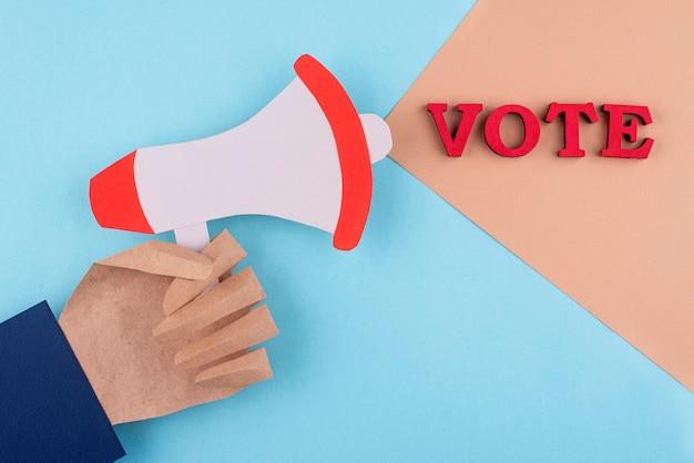 Abstimmungszusammensetzung im papierstil von oben