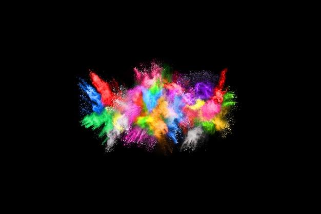Abstrakt farbige staubexplosion auf einem schwarzen background.abstract pulver splatted hintergrund.