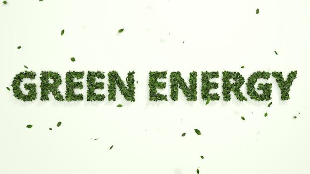 Abstrakte 3d-blätter, die grünen energietext auf weißem hintergrund bilden