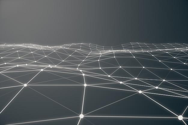 Abstrakte 3d-darstellung der chaotischen struktur. heller hintergrund mit linien und kugeln im leeren raum. futuristische form