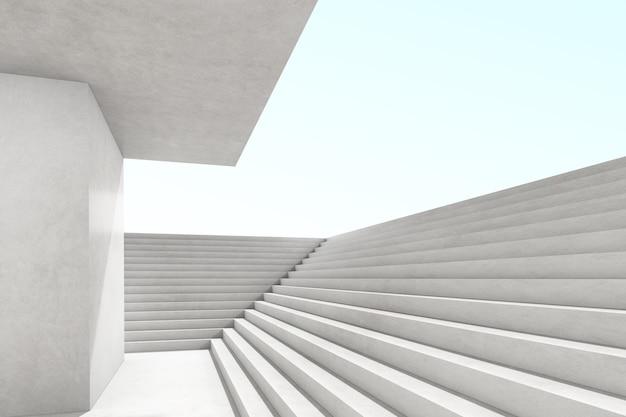 Abstrakte 3d-darstellung des leeren betonraums mit licht und schatten auf der treppenstruktur, futuristische architektur.