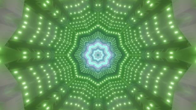 Abstrakte 3d-darstellung eines hellen sternförmigen tunnels, der mit vielen grünen neonlampen beleuchtet wird
