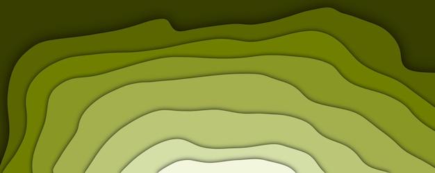 Abstrakte 3d-darstellung grüne klippe papierschnitt-effekt-hintergrund