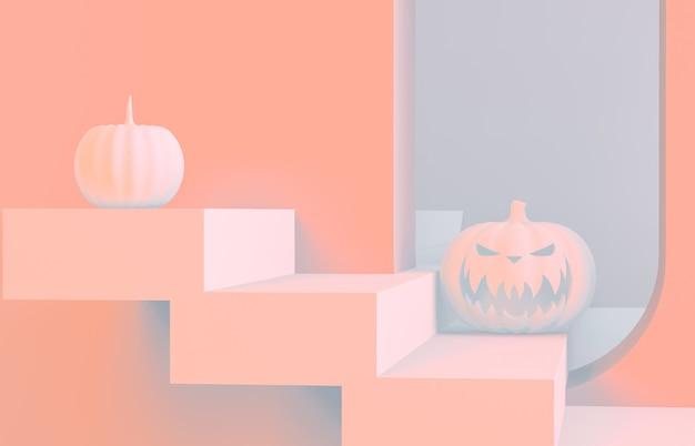 Abstrakte 3d halloween szene mit treppen und kürbis.