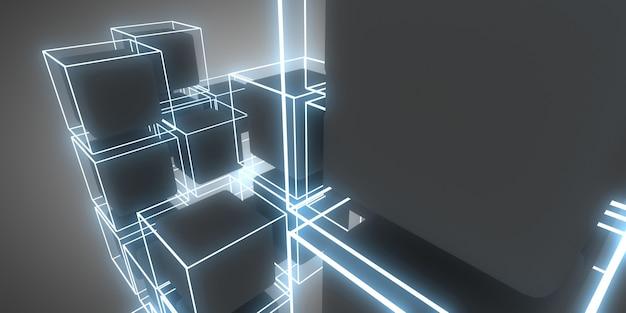 Abstrakte 3d-hintergrundwürfel mit neonlichtern