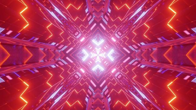 Abstrakte 3d-illustration des symmetrischen tunnels mit der geometrischen verzierung, die mit bunten neonlichtern glüht