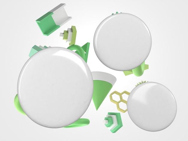 Abstrakte 3d-kopienraumstifte und grüne bewegungsobjekte