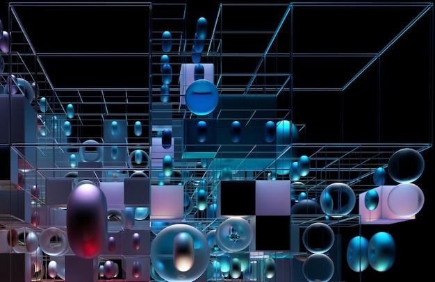 Abstrakte 3d-kunst mit 3d-geometriefiguren als würfelkugeln und torus in lila und blauer metallfarbe