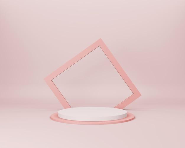Abstrakte 3d-minimalszene mit hellen lachsfarbenen geometrischen formen auf hellrosa hintergrund