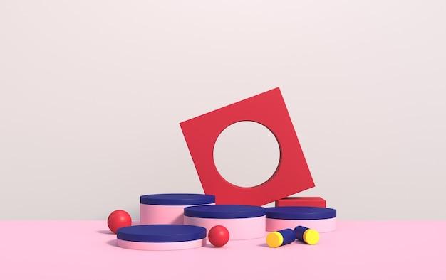 Abstrakte 3d-szene mit geometrischen formen verschiedener farben, mit einem podium für produktdemonstration, rendern