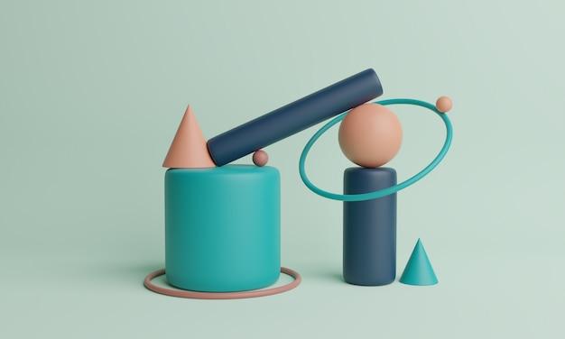 Abstrakte 3d-wiedergabe von geometrischen formen. moderner geometrischer hintergrund