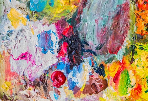 Abstrakte acrylfarbenpalette von buntem, mischungsfarbe, hintergrund