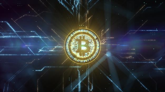 Abstrakte animation des bitcoin-währungszeichens im digitalen cyberspace.