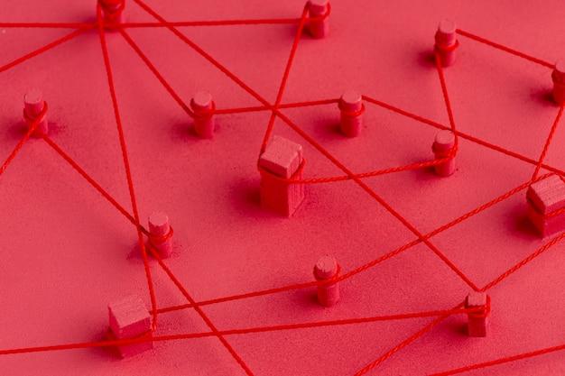 Abstrakte anordnung des netzwerkkonzepts stillleben