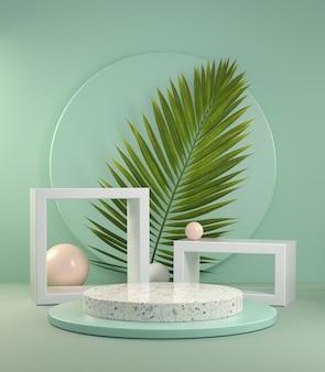 Abstrakte anzeige des 3d-renderings mit palmblatt auf grüner minze hintergrundillustration