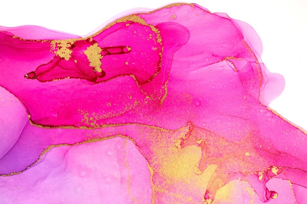 Abstrakte aquarell rosa und violette farbverlaufsimitation mit goldglitter