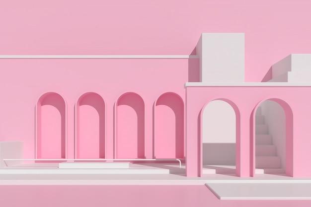 Abstrakte architektur mit treppe auf rosa hintergrund.