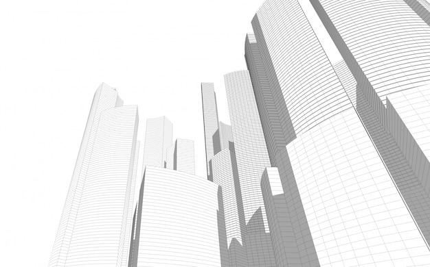 Abstrakte architekturzeichnung skizze