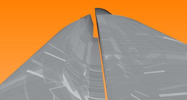 Abstrakte architekturzeichnungsskizze, illustration