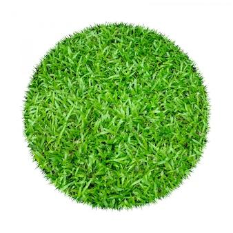 Abstrakte beschaffenheit des grünen grases für hintergrund. kreis grünes gras isoliert