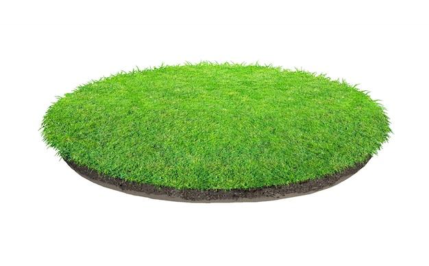 Abstrakte beschaffenheit des grünen grases. kreis grünes gras isoliert