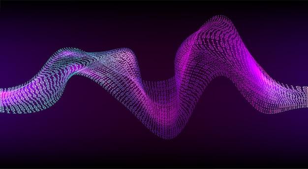 Abstrakte binäre welle. digitaler code-hintergrund. cyberspace und technologiekonzept. künstliche synthetische stimme. digitale schallwelle. intelligenter assistent.