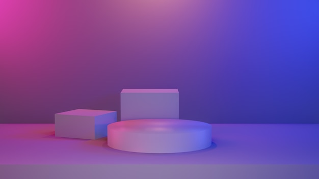 Abstrakte blau-rosa lebendige sockelbühne