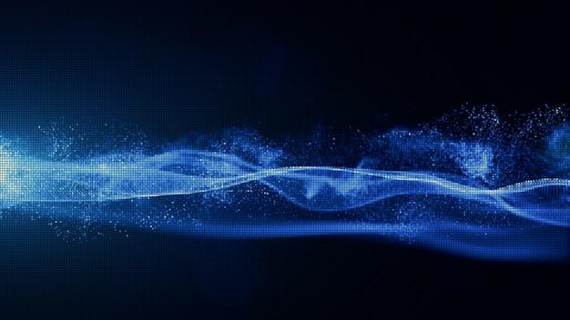 Abstrakte blaue farbdigitalpartikel mit staub und hellem hintergrund