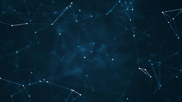Abstrakte blaue geometrische formen des plexus. verbindung und webkonzept.