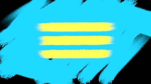 Abstrakte blaue und gelbe bürsten der bewegung, bunter schmutzhintergrund. eleganter und luxuriöser 3d-illustrationsstil für hipster- und aquarellvorlagen