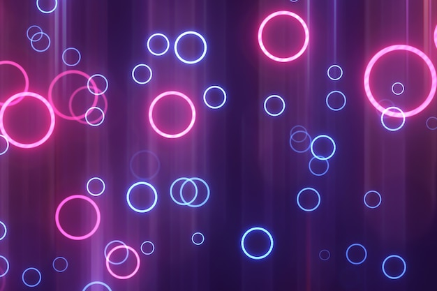 Abstrakte blaue und rosafarbene neonkreise. leuchtenden hintergrund