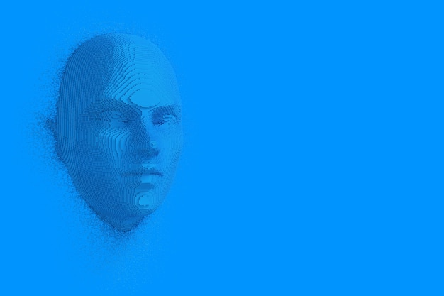 Abstrakte blaue würfel menschlicher kopf und gesicht im duotone-stil auf blauem hintergrund. 3d-rendering