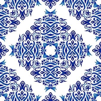 Abstrakte blumenfliese dekorative blaue und weiße azulejo handgezeichnete fliese nahtlose dekorative aquarellfarbe muster