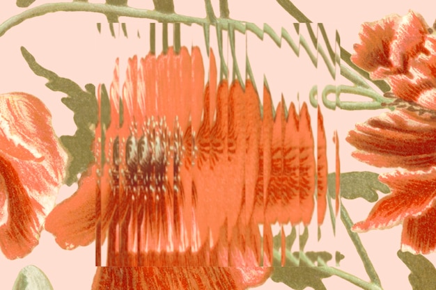 Abstrakte blumenhintergrundtapete hinter milchglas
