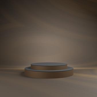 Abstrakte braune szene 3d mit braunem podiummodell.