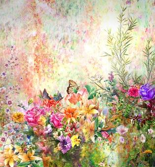 Abstrakte bunte blumenaquarellmalerei. frühling bunt in der natur