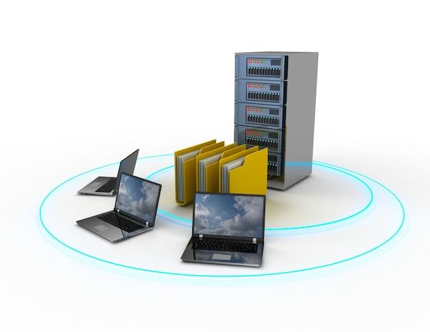 Abstrakte computernetzwerkdatenbank. 3d-darstellung