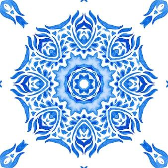 Abstrakte damast-schneeflocke-blume nahtlose dekorative aquarellfarbenmuster.