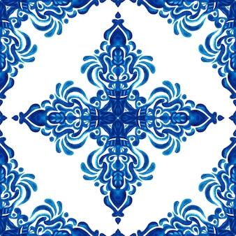 Abstrakte damastblume nahtlose dekorative aquarellfarbe muster. elegante luxustextur für tapeten, hintergründe und seitenfüllungen