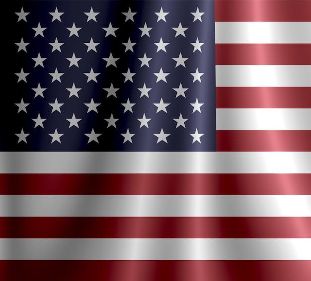Abstrakte darstellung der flagge der vereinigten staaten von nordamerika auf welligem, glänzendem stoff mit re