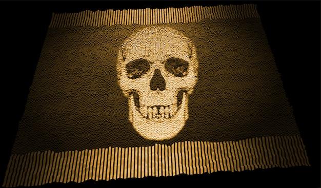 Abstrakte darstellung der fußmatte mit graviertem totenkopf und cremefarbenen fransen auf schwarzem hintergrund in dunklem e