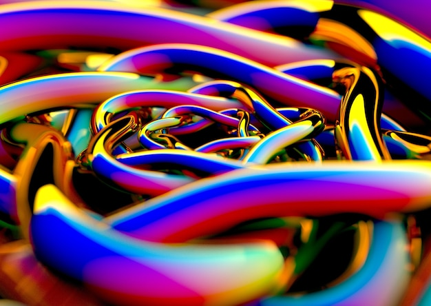 Abstrakte darstellung von konzentrischen hellen farbigen röhren in perspektive mit unschärfe