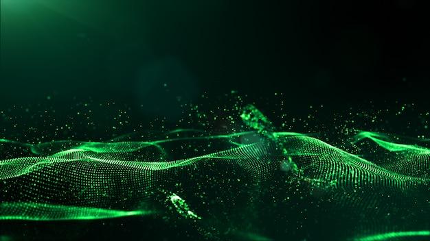 Abstrakte digitale partikel der grünen farbe bewegen mit staub und hellem hintergrund wellenartig