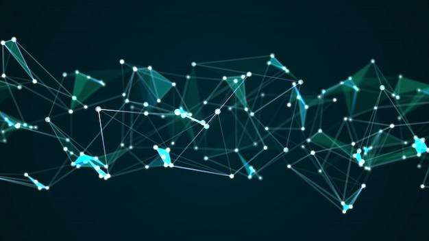 Abstrakte digitale technologiegraphik des abstrakten futuristischen molekülstrukturinternets
