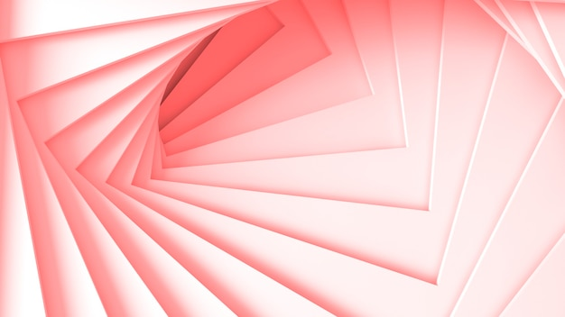 Abstrakte dreidimensionale minimale pastellrosa textur aus einer reihe von geraden quadratischen rändern spiralförmiger stufen. 3d-darstellung.