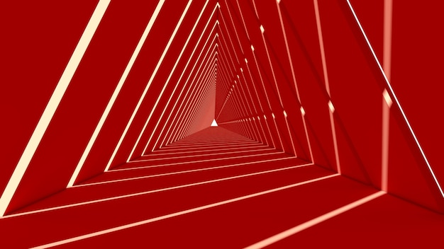 Abstrakte dreieckform im roten hintergrund